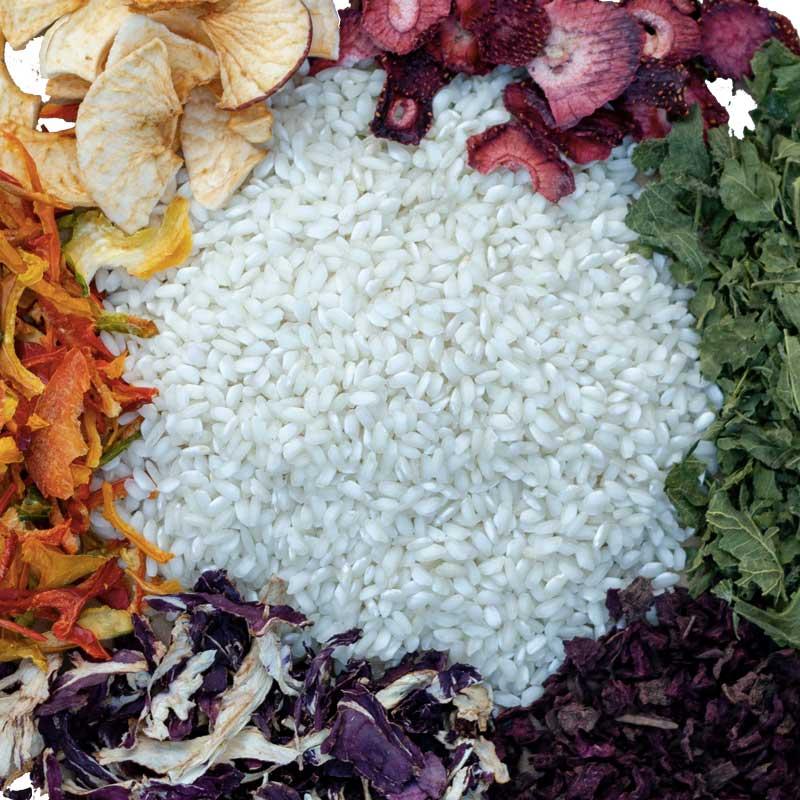 riso Carnaroli Pavia con frutta e verdura disidratate